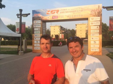 Patrick Sireyjol (right) and Jean Brucy are running in the course opening car in China.