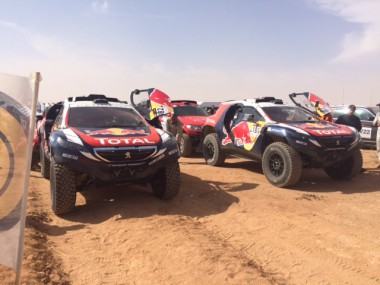 Leading cars at the finish of SS4 of the China Silk Road Rally