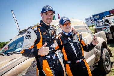 Dale Moscatt and Peter Jerie celebrate their Dakar Rally finish.