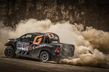 Vladimir Vasilyev tests his new Overdrive Racing Toyota Hilux.