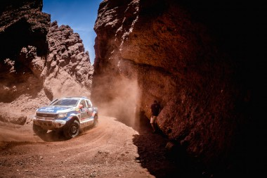 Xavier Pons passes through a narrow canyon en route to Belen on the Dakar Rally.